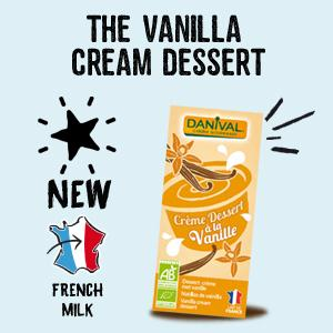 New organic vanilla cream dessert